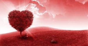 paesaggio rosso con bimbo seduto sotto un albero a forma di cuore e nei pressi la sua bicicletta