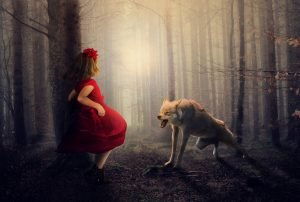 una bambina vestita di rosso contro un tronco di un albero mentre sta per essere attaccata da un lupo che le ringhia contro