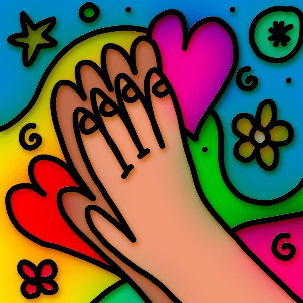 disegno stilizzato dai forti colori due  mani che battono il cinque circondate da cuori stelle e fiori
