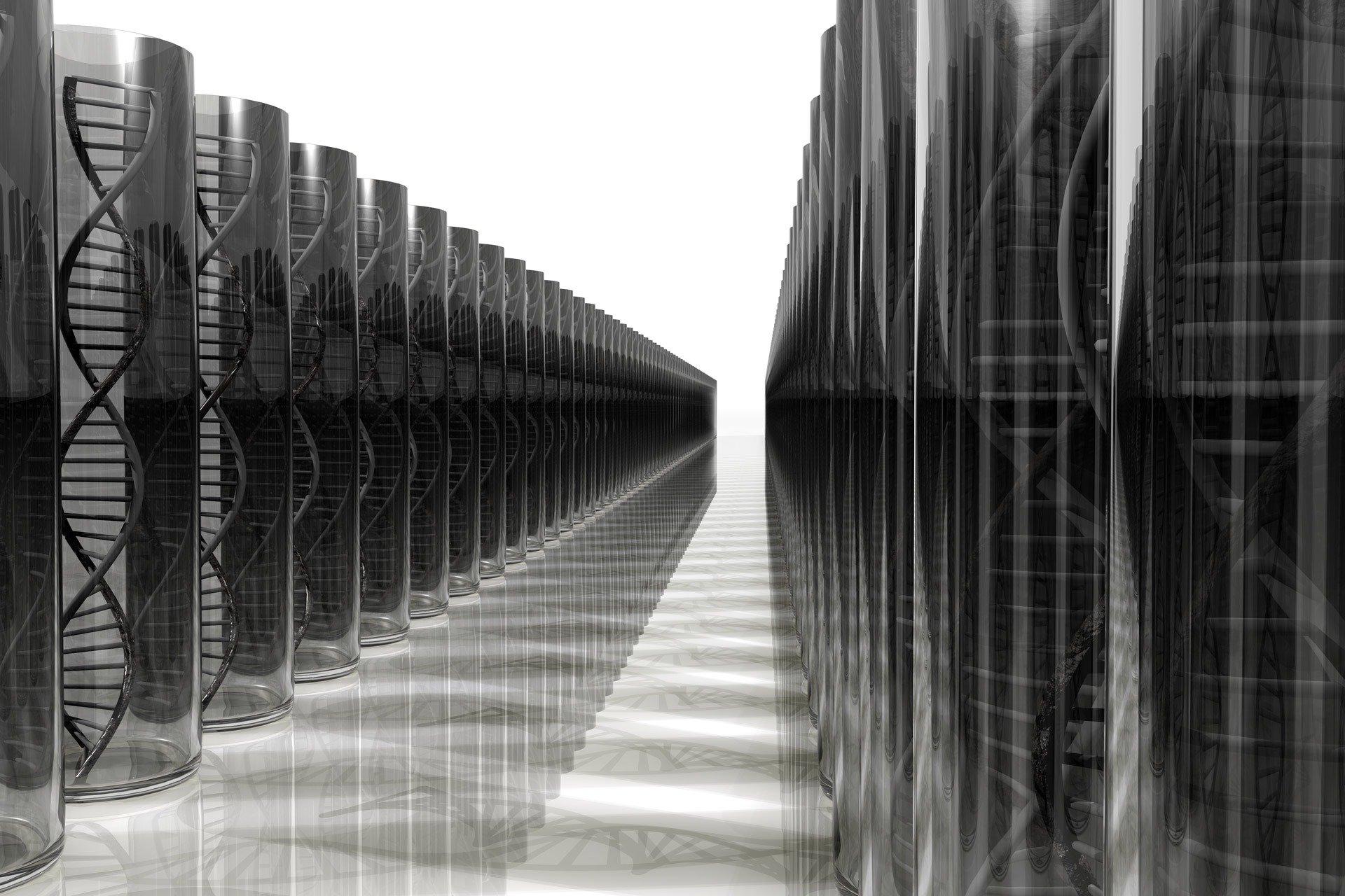 spirali di dna allineate in bianco e nero
