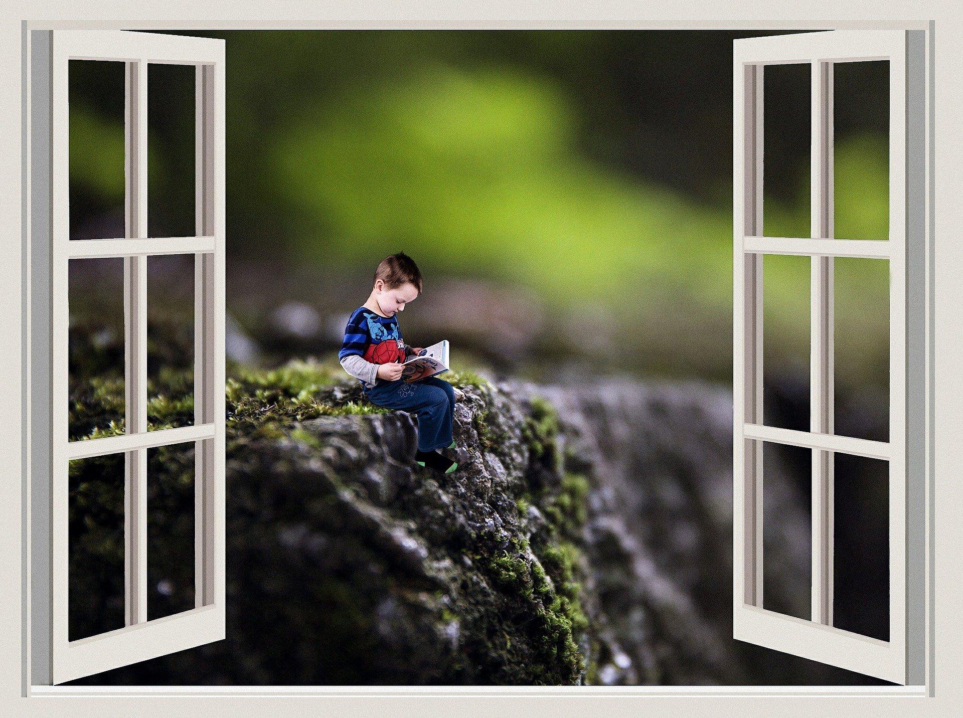 una finestra dalla quale si vede un bambino in un dirupo che legge