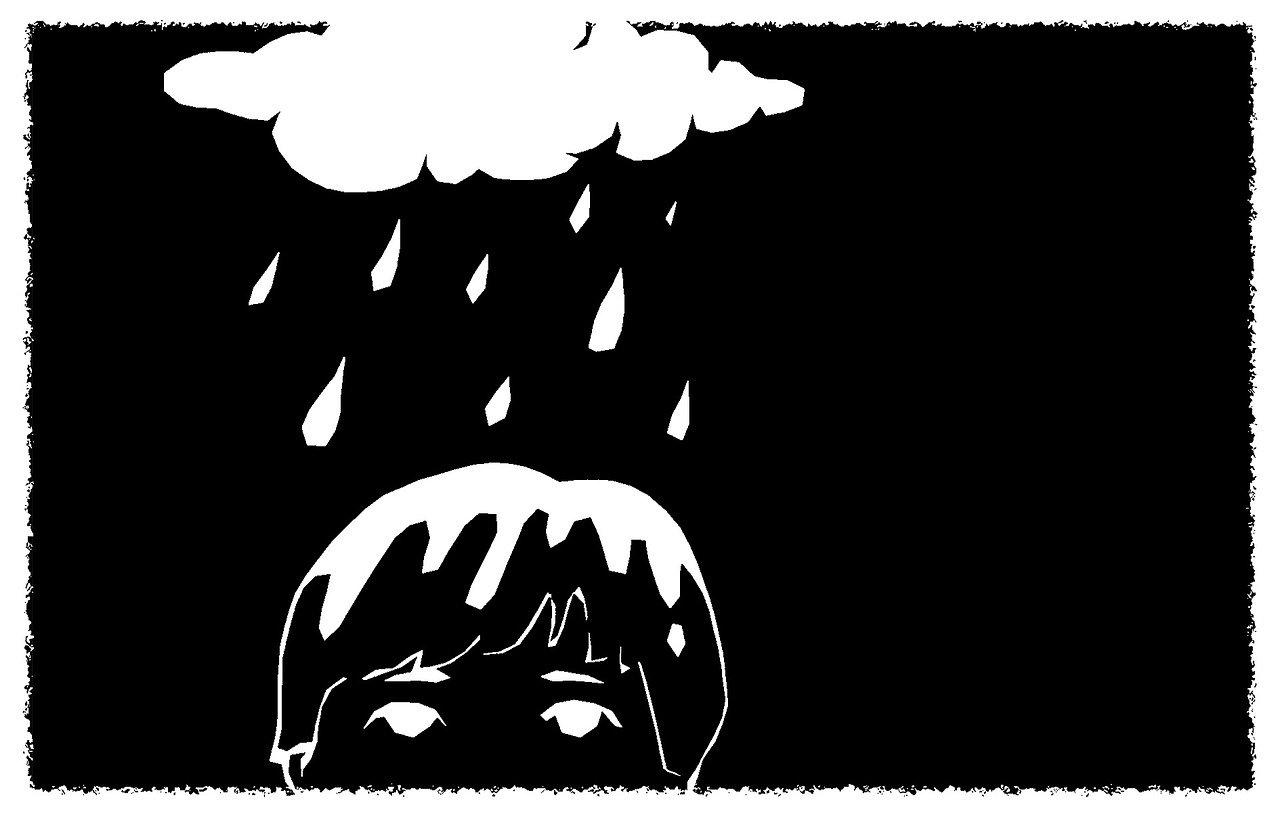 disegno bianco su sfondo nero una nuvola da cui piove sopra la testa di un bambino