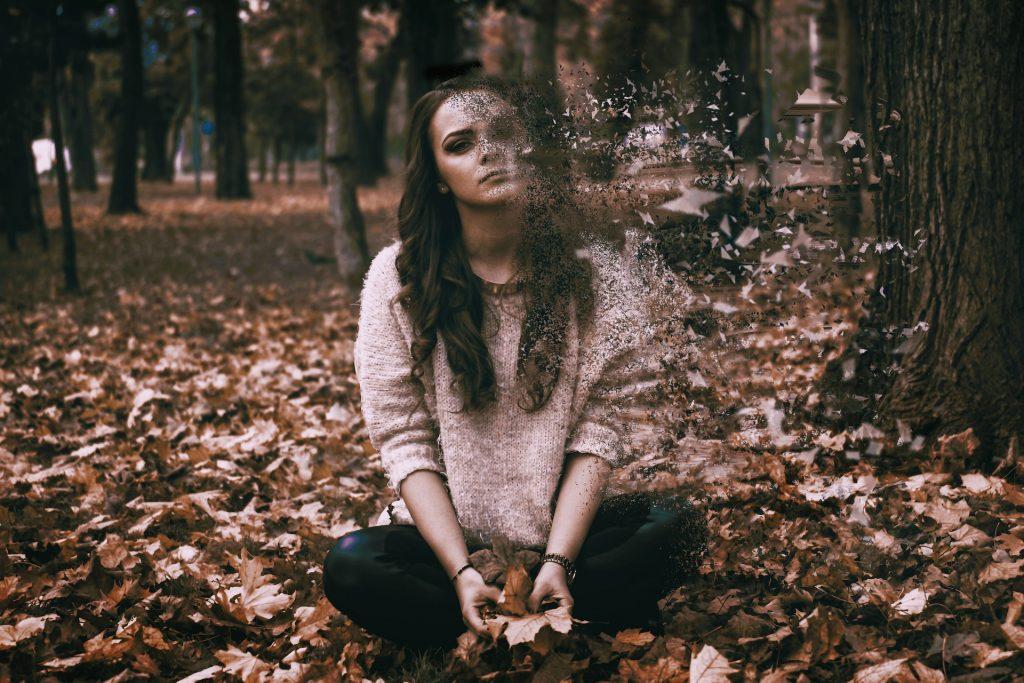 ragazza seduta su un prato di foglie cadute che per metà si sta disfacendo e volando via
