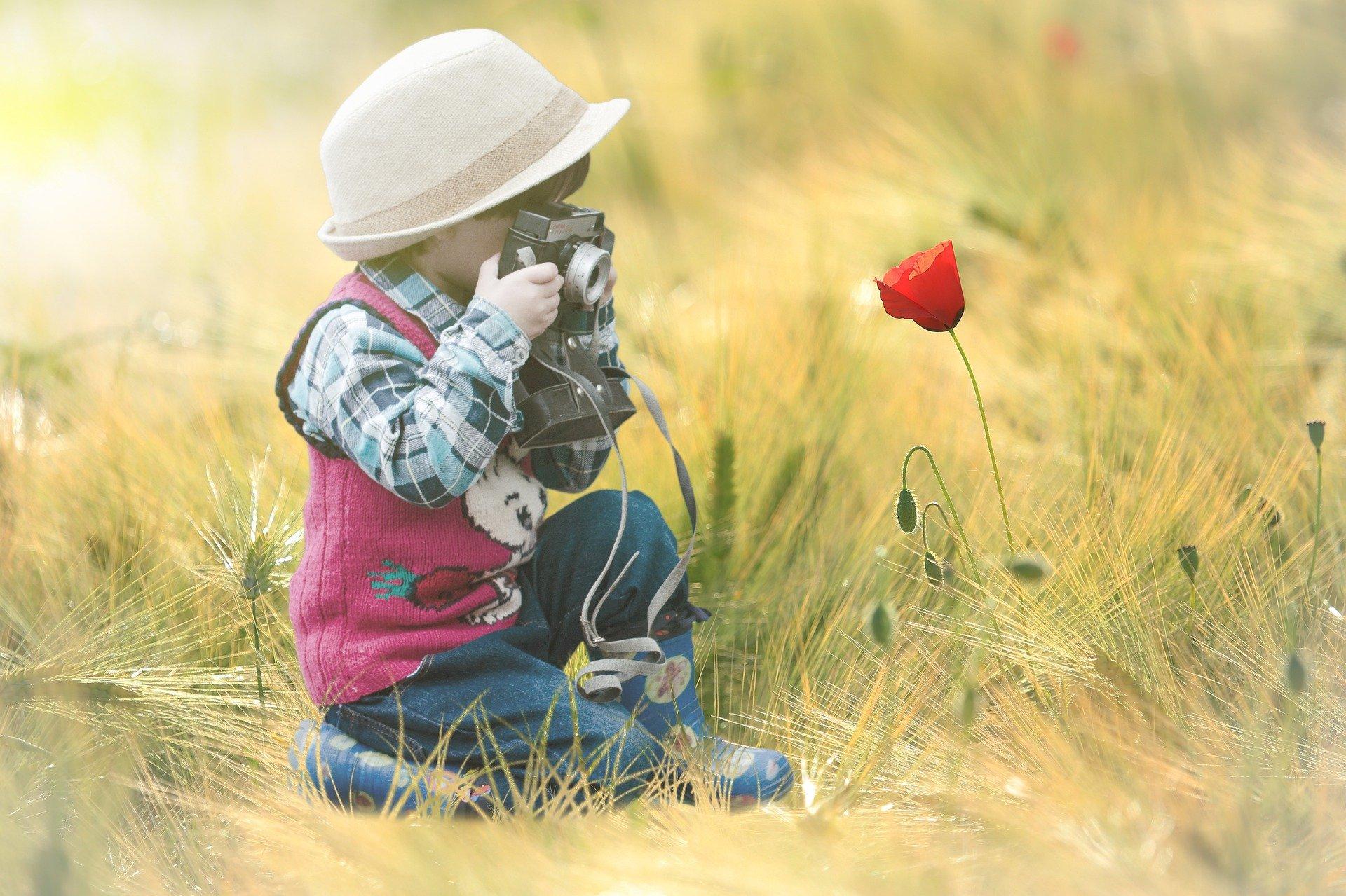 un bambino fotografa un tulipano in mezzo a un campo