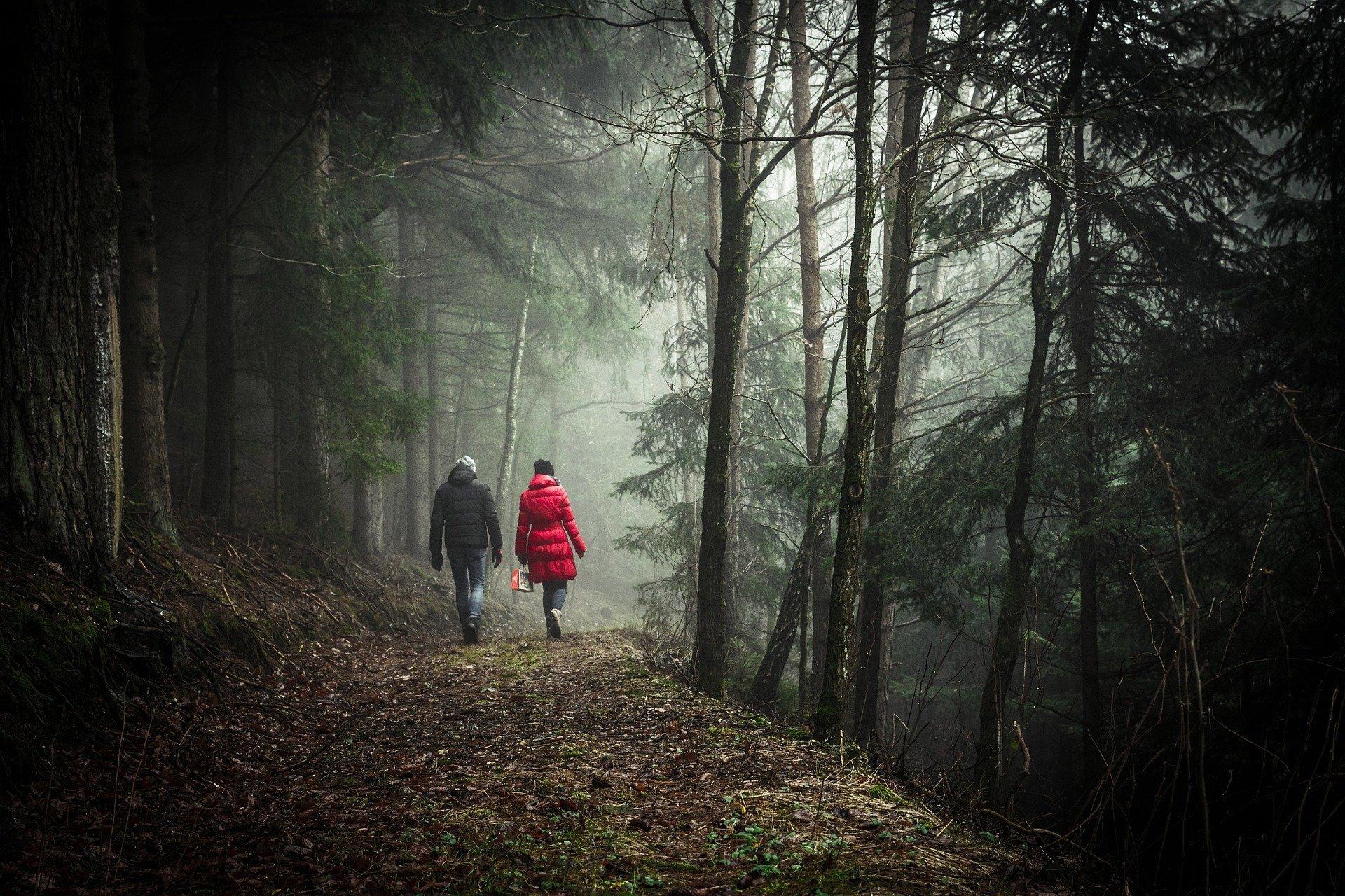un uomo ed una donna che camminano nel sentiero di un bosco