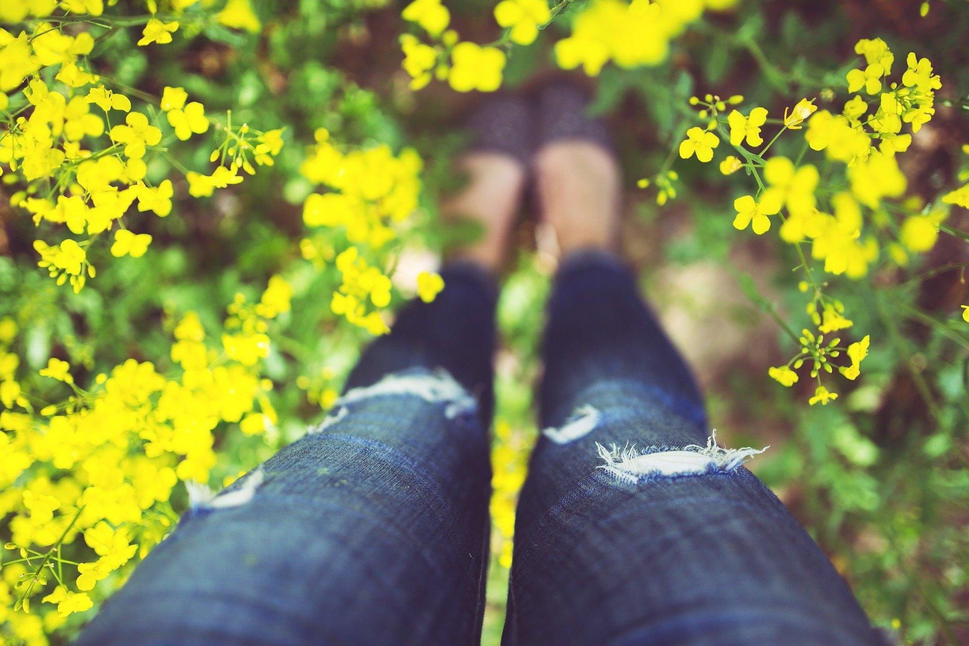gambe di donna viste dall'alto in mezzo alla natura fiorita di giallo