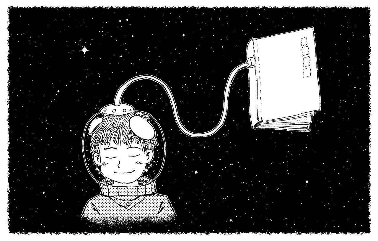 disegno di un bambino con un casco spaziale collegato ad un libro in orbita